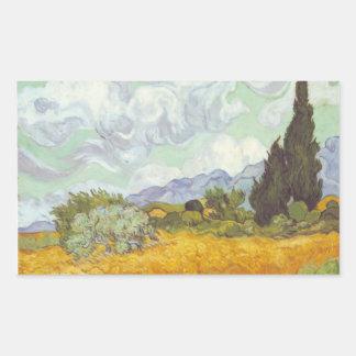Vincent Van Gogh -  Wheat Field with Cypresses Rectangular Sticker