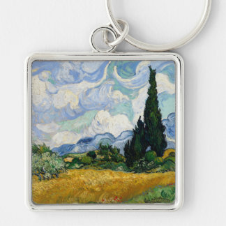 Vincent Van Gogh Wheat Field With Cypresses Silver-Colored Square Keychain