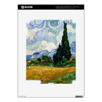 Vincent Van Gogh Wheat Field With Cypresses Decals For iPad 3