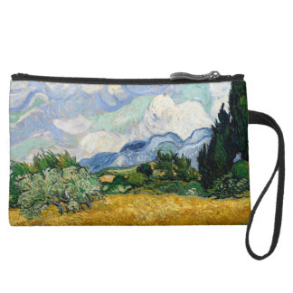 Vincent Van Gogh Wheat Field With Cypresses Suede Wristlet
