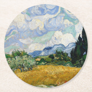 Vincent Van Gogh Wheat Field With Cypresses Round Paper Coaster
