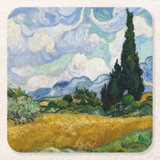 Vincent Van Gogh Wheat Field With Cypresses Square Paper Coaster