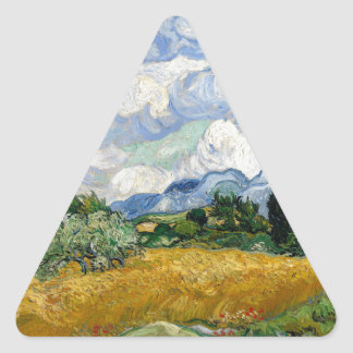 Vincent Van Gogh Wheat Field With Cypresses Triangle Sticker