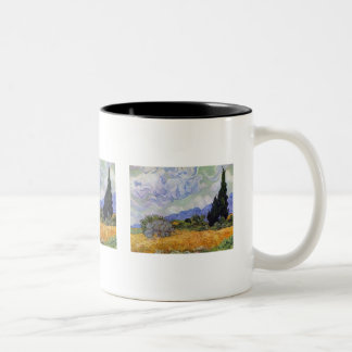 Vincent van Gogh - Wheat Field with Cypresses Two-Tone Coffee Mug