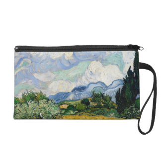 Vincent Van Gogh Wheat Field With Cypresses Wristlet Purse