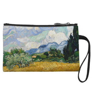 Vincent Van Gogh Wheat Field With Cypresses Wristlet Wallet