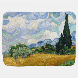 Vincent Van Gogh Wheat Field With Cypresses Swaddle Blanket