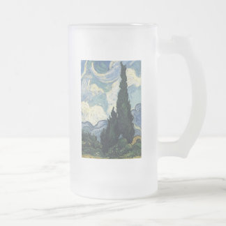 Vincent van Gogh Wheat Fields With Cypresses Frosted Glass Beer Mug