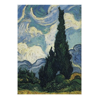 Vincent van Gogh Wheat Fields With Cypresses Poster