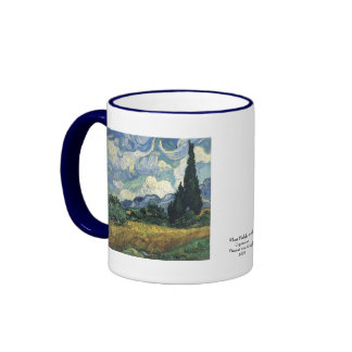 Vincent van Gogh  Wheat Fields With Cypresses Ringer Mug