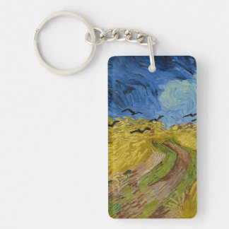 Vincent van Gogh - Wheatfield with crows Rectangular Acrylic Keychain