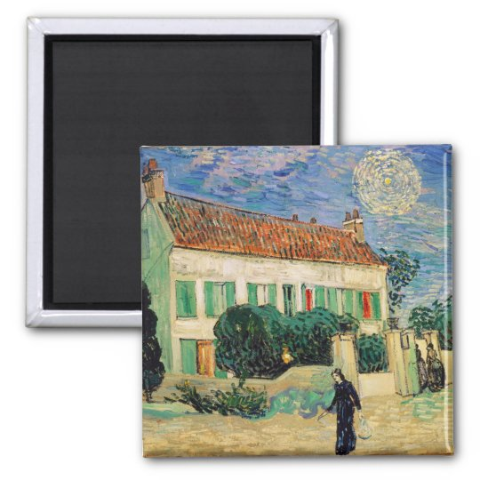 Vincent van Gogh   White House at Night, 1890 2 Inch Square Magnet