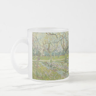Vincent Van Gogh white orchard Frosted Glass Coffee Mug