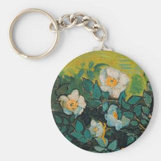 Vincent Van Gogh Wild Roses Vintage Floral Art Basic Round Button Keychain