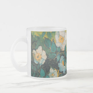 Vincent Van Gogh Wild Roses Vintage Floral Art 10 Oz Frosted Glass Coffee Mug