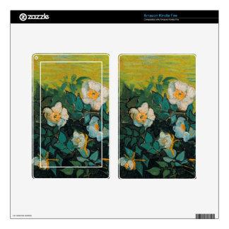 Vincent Van Gogh Wild Roses Vintage Floral Art Skins For Kindle Fire