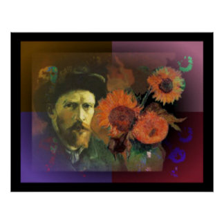 Vincent van Gogh's bearded face amidst sunflowers Poster