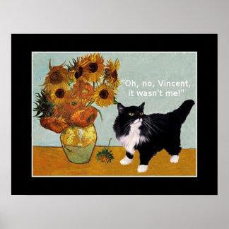 Vincent Van Gogh's naughty cat Poster