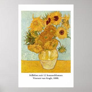 Vincent van Gogh's Stilleben mit 12 Sonnenblumen Poster