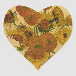 Vincent van Gogh's Sunflowers, 1878 Heart Sticker