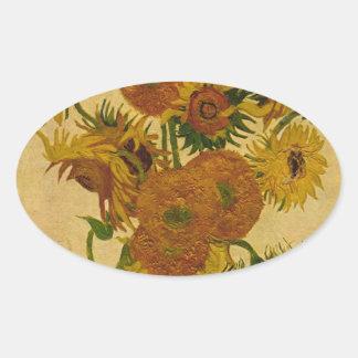Vincent van Gogh's Sunflowers, 1878 Oval Sticker