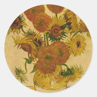 Vincent van Gogh's Sunflowers, 1878 Round Stickers