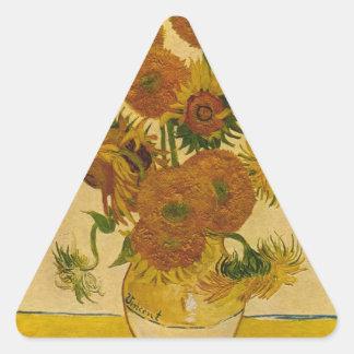 Vincent van Gogh's Sunflowers, 1878 Triangle Sticker