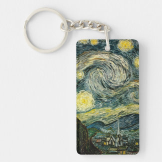 Vincent van Gogh's The Starry Night (1889) Double-Sided Rectangular Acrylic Keychain