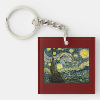 Vincent van Gogh's The Starry Night (1889) Double-Sided Square Acrylic Keychain