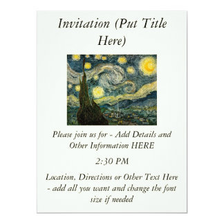 "Vincent van Gogh's The Starry Night (1889) 6.5"" X 8.75"" Invitation Card"