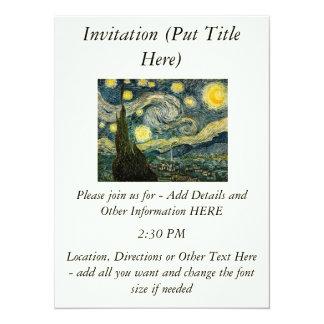 "Vincent van Gogh's The Starry Night (1889) 5.5"" X 7.5"" Invitation Card"