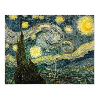 "Vincent van Gogh's The Starry Night (1889) 4.25"" X 5.5"" Invitation Card"