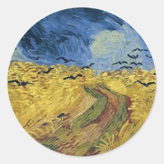 Vincent van Gogh's Wheat Field with Crows (1890) Round Sticker