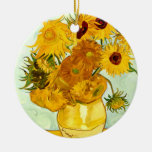 Vincent Van Gogh's Yellow Sunflower Painting 1888 Double-Sided Ceramic Round Christmas Ornament