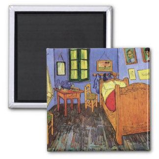 Vincent's Bedroom in Arles by Vincent van Gogh 2 Inch Square Magnet