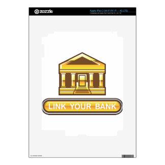 Vínculo de oro del banco su botón del banco pegatina skin para iPad 3