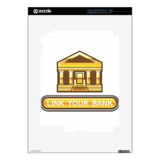Vínculo de oro del banco su botón del banco skin para el iPad 2