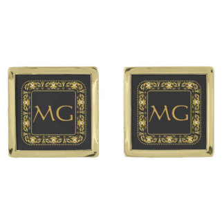 Vínculos de puño cuadrados afiligranados cones gemelos dorados