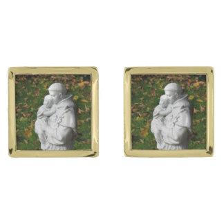 Vínculos de puño de St Anthony Gemelos Dorados