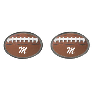 Vínculos de puño del diseño del fútbol gemelos metalizados