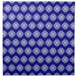 Vínculos decorativos modernos azules y blancos servilleta