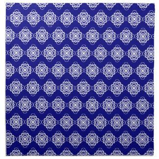 Vínculos decorativos modernos azules y blancos servilletas imprimidas