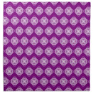Vínculos decorativos modernos púrpuras y blancos servilletas imprimidas
