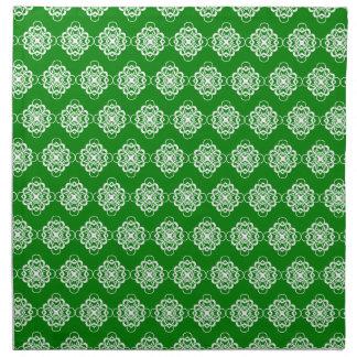 Vínculos decorativos modernos verdes y blancos servilleta imprimida