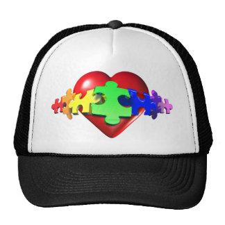 Vínculos del rompecabezas del corazón gorras