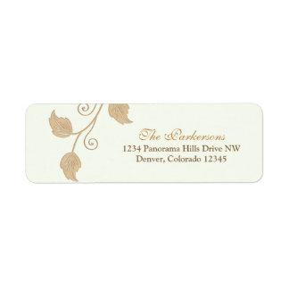 Vine and Leaves Wedding Return Address Labels