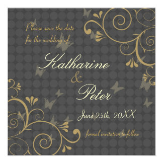 Vine & Butterfly Design Save The Date Invitation