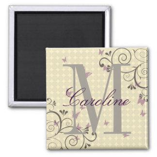 Vine & Butterfly Monogram Magnet Cream