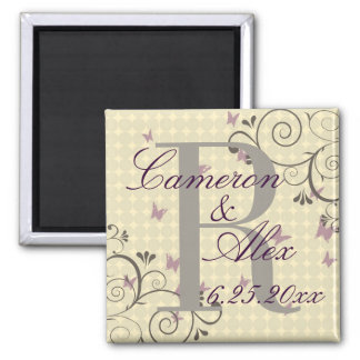 Vine & Butterfly Monogram Save The Date Magnet