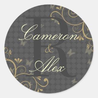 Vine & Butterfly Monogram Wedding Sticker